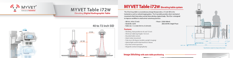 MyVet i 72 w vet table- variable Source to image distance digital x-ray table